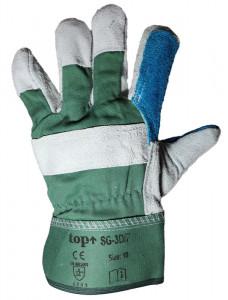 TOP SG-3D/P Marhabőr rakodó kesztyű, szürke/zöld termék fő termékképe