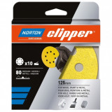 Norton Clipper tépőzáras csiszolópapír 10 db 125 mm 8 lyukas P120, 5 db/csomag