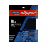 Norton Clipper vízálló csiszolólap 5 db 230x280 mm P600, 10 db/csomag
