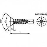 ST2.9X19MM POZIDRIV® – SÜLLYESZTETT FEJŰ CSAVAR BZP1 DB / CSOMAG