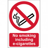 "ÖNTAPADÓ CIMKE ""NO SMOKING INCLUDING E-CIGARETTES"" 148X210MM1 DB / CSOMAG"