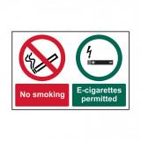 "KEMÉNY PVC TÁBLA ""NO SMOKING / E-CIGARETTESPERMITTED"" 300X200MM1 DB / CSOMAG"