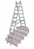 Krause CORDA háromrészes létrafokos sokcélú létra lépcsőfunkcióval, 3x9 fokos