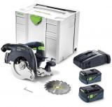 Festool HKC 55 Li 5,2 EBI-Plus-SCA akkus kézi billenőbúrás körfűrész (2 x 5.2 Ah Li-ion akkuval)