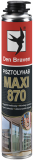 Den Braven MAXI 870 pisztolyhab, sárga, 870 ml