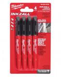 Milwaukee INKZALL™ jelölő filc, 0.6 mm vékony hegy, fekete, 4db/csomag
