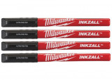 Milwaukee INKZALL™ vékony filctoll, 0.6 mm hegy, fekete, 4db/csomag