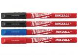 Milwaukee INKZALL™ vékony filctoll, 0.6 mm hegy, fekete, piros és kék, 4db/csomag