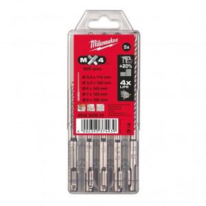 Milwaukee MX4 SDS-plus 4-élű fúrószár készlet, 5 darabos termék fő termékképe