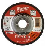Milwaukee SG 27 / 115 PRO+ csiszolókorong fémhez, hajlított, 115x6.0 mm