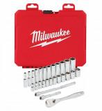 """Milwaukee 1/4""""-os racsni és dugókulcs készlet, metrikus méret, 28 darabos"""