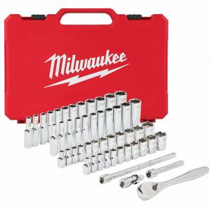 """Milwaukee 1/4""""-os racsni és dugókulcs készlet, metrikus és colos méret, 50 darabos termék fő termékképe"""