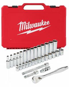 """Milwaukee 3/8""""-os racsni és dugókulcs készlet, metrikus méret, 32 darabos termék fő termékképe"""