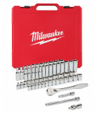 """Milwaukee 3/8""""-os racsni és dugókulcs készlet, metrikus és colos méret, 56 darabos"""