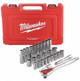 """Milwaukee 1/2""""-os racsni és dugókulcs készlet, metrikus méret, 28 darabos"""