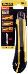 Stanley 0-10-480 műanyagházas fémmegvezetéses tördelhető pengés kés, 18 mm (bliszteres) + 6 db penge termék fő termékképe