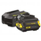 Stanley SFMCB121D1 FATMAX® V20 18 V akkumulátor és töltő szett + adapter