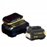 Stanley SFMCB12D1 FATMAX® V20 18 V akkumulátor és töltő csomag (1 x 2.0 Ah Li-ion akkuval, adapterrel)