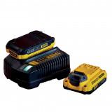 Stanley SFMCB12D2 FATMAX® V20 18 V akkumulátor és töltő csomag (2 x 2.0 Ah Li-ion akkuval)