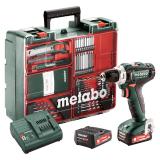 METABO POWERMAXX BS 12 SET akkus fúró-csavarozó (2 x 2.0 Ah Li-Power akkuval, műanyag hordtáskában) + tartozékkészlet