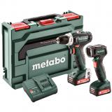 METABO POWERMAXX BS 12 SET akkus fúró-csavarozó (2 x 2.0 Ah Li-Power akkuval, műanyag hordtáskában) + LED lámpa