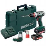 METABO BS 14.4 QUICK SET akkus fúró- csavarozó (2 x 2.0 Ah Li-Power akkuval, műanyag hordtáskában) + sarokadapter és bitkészlet