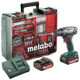 METABO BS 14.4 SET akkus fúró- csavarozó (2 x 2.0 Ah Li-Power akkuval, műanyag hordtáskában) + tartozékkészlet