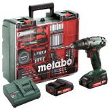 METABO BS 18 SET akkus fúró- csavarozó (2 x 2.0 Ah Li-Power akkuval, műanyag hordtáskában) + tartozékkészlet