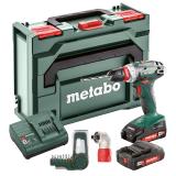 METABO BS 18 QUICK SET akkus fúró- csavarozó (2 x 2.0 Ah Li-Power akkuval, metaBOX kofferben) + bitkészlet