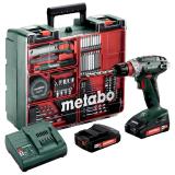 METABO BS 18 QUICK SET akkus fúró- csavarozó (2 x 2.0 Ah Li-Power akkuval, műanyag hordtáskában) + tartozékkészlet