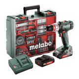 METABO BS 18 L QUICK SET akkus fúró- csavarozó (2 x 2.0 Ah Li-Power akkuval, műanyag hordtáskában) + mobil műhely