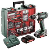 METABO BS 18 L akkus fúró- csavarozó (2 x 2.0 Ah Li-Power akkuval, műanyag hordtáskában) + mobil műhely