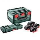 METABO 18 V-os akku csomag (4 x 10.0 Ah LiHD akku, duplatöltő, MetaBox kofferben)