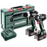 METABO COMBO SET 2.9.3 18 V szénkefe nélküli akkus gépcsomag (2 x 5.2 Ah Li-Power akkuval, metaBOX kofferben)