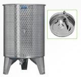 Úszófedeles INOX bortartály, 500 l - 3 csapos, pumpás szettel