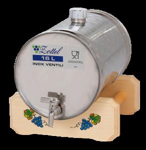INOX pálinkás tartály, 16 l - fekvő termék fő termékképe