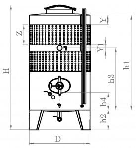 Zárt INOX bortartály, 2000 l dupla hűtőpalásttal termék fő termékképe