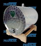 INOX pálinkás tartály, 25 l - fekvő fatalpas