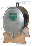 INOX pálinkás tartály, 10 l - ovális fekvő fatalpas