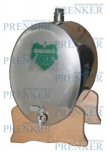 INOX pálinkás tartály, 10 l - ovális fekvő fatalpas termék fő termékképe