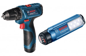 Bosch GSR 120-Li akkus fúró-csavarozó + GLI 12V-300 akkus lámpa (2 x 1.5 Ah Li-ion akkuval) termék fő termékképe