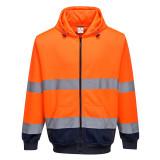 Portwest B317 - Kéttónusú zippzáras kapucnis pulóver, narancs/tengerészkék