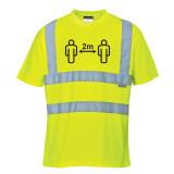 Portwest CV78 - Távolságtartásra figyelmeztető Hi-Vis póló, sárga