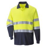 Portwest FR74 - Lángálló, antisztatikus kéttónusú pólóing, sárga/tengerészkék