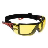 Portwest PS11 - Tech Look Plus gumipántos védőszemüveg, borostyán
