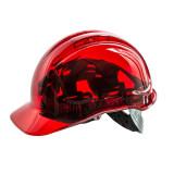 Portwest PV50 - Peak View átlátszó védősisak, piros