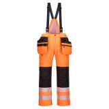 Portwest PW351 - PW3 Hi-Vis téli kantáros nadrág, narancs/fekete