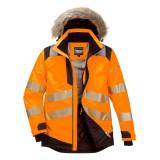 Portwest PW369 - PW3 Hi-Vis Parka téli kabát, narancs/fekete