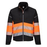 Portwest PW375 - PW3 Hi-Vis Class 1 softshell kabát, fekete/narancs