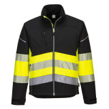 Portwest PW375 - PW3 Hi-Vis Class 1 softshell kabát, fekete/sárga
